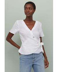 H&M Linen Wrapover Blouse - White