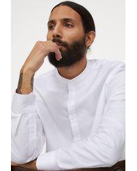 H&M Grandad Shirt Slim Fit - White
