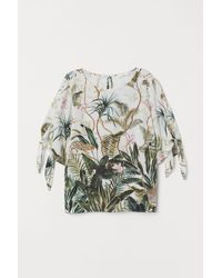 H&M - Tie-sleeve Blouse - Lyst