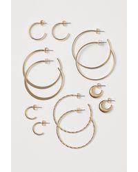 H&M 6 paires d'anneaux - Métallisé