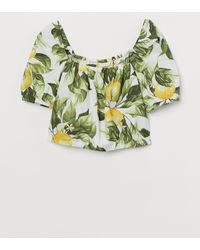 H&M Kurzes Baumwollshirt - Weiß