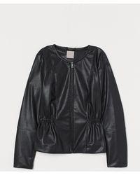 H&M Imitation Leather Jacket - Black