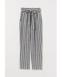H&M Linen-blend Paper Bag Trousers - Black