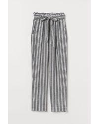 H&M Linen-blend Paper Bag Pants - Black