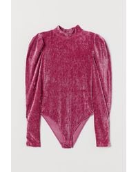 H&M Velour Puff-sleeved Body - Pink