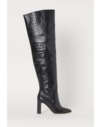 H&M Overknee-Stiefel aus Leder - Schwarz