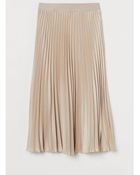 H&M Pleated Skirt - Natural
