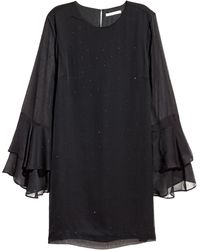 H&M Flounce-sleeved Dress - Black