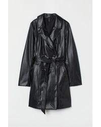H&M Imitation Leather Trenchcoat - Black