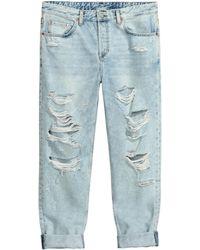 H&M Boyfriend Low Ripped Jeans - Blauw