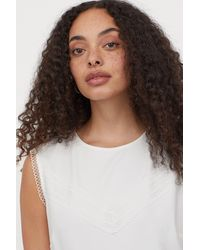 H&M Lace-trimmed Dress - White