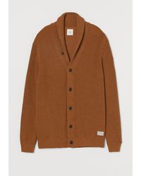 H&M Shawl-collar Cardigan - Brown
