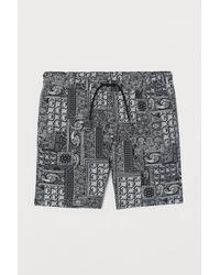 H&M Patterned Cotton Shorts - Black