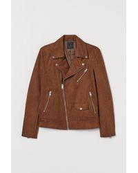 H&M Imitation Suede Biker Jacket - Natural