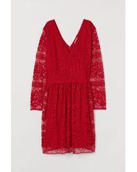 H&M H & M+ V-Kleid aus Spitze - Rot