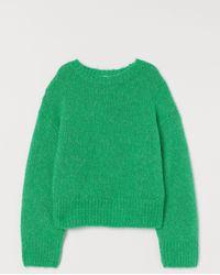 H&M Strickpullover aus Wollmix - Grün