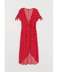H&M Patterned Wrap Dress - Red