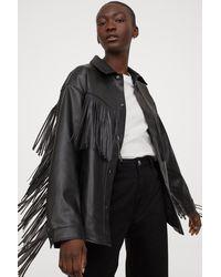 H&M Faux Leather Shacket - Black