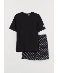 H&M Schlafshirt und Shorts - Schwarz