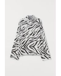 H&M Strickpullover mit Stehkragen - Weiß