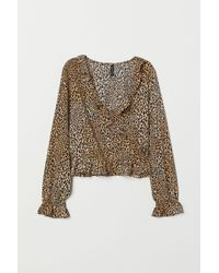 H&M Flounced Blouse - Natural