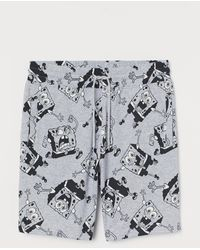 H&M Gemusterte Sweatshorts - Grau