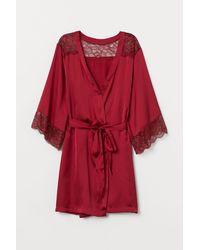 H&M - Kimono en satin et dentelle - Lyst