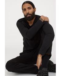 H&M Long-sleeved Top Regular Fit - Black