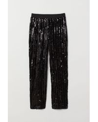 H&M Pull-on Sequined Trousers - Black