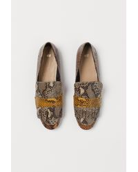 H&M Snakeskin-patterned Loafers - Brown