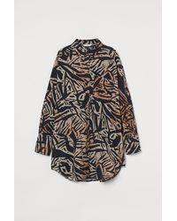H&M Oversized Linen-blend Shirt - Natural