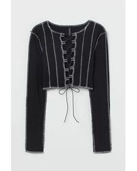 H&M Flatlock-seam Cropped Top - Black