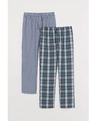 H&M 2-pack Cotton Pyjama Bottoms - Blue