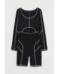 H&M Flatlock-seam Playsuit - Black