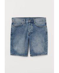 H&M Straight Denim Short - Blauw