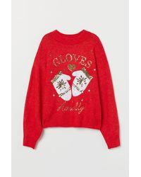 H&M Sequin-motif Sweater - Red