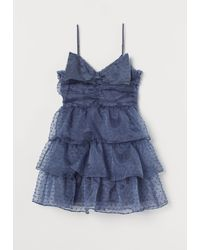 H&M Volantkleid mit Schleife - Blau