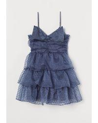 H&M Robe volantée avec naud - Bleu