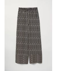 H&M Striped Pull-on Trousers - Black