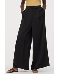 H&M Wide Side-slit Pants - Black