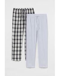 H&M 2er-Pack Baumwoll-Pyjamahosen - Grau