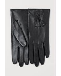 H&M Lederhandschuhe mit Quasten - Schwarz
