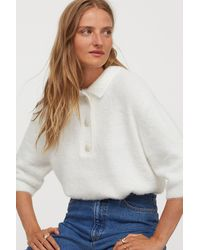 H&M Sparkly-button Fluffy Top - White