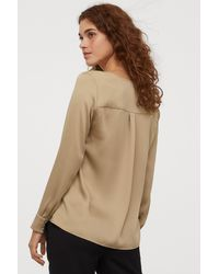 H&M Blouse With Ties - Natural