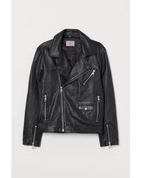 H&M Bikerjacke aus Leder - Schwarz