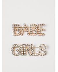 H&M 2-pack Text Brooches - White