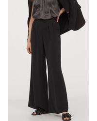 H&M Wide-cut Pants - Black