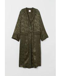 H&M Jacquard-weave Coat - Green