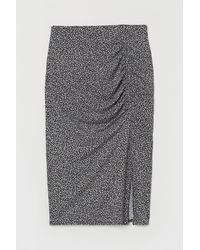 H&M Gathered Jersey Skirt - Black
