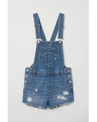 H&M - Denim Dungaree Shorts - Lyst